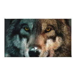 """Contemporary Wolf Rug, 50x36 - Using 100% Woven Polyester, these premium quality area rugs boast an exceptionally soft touch and high durability. Available in three versatile sizes (36""""x24"""", 60""""x36"""", 72""""x48"""") they are the perfect accent to any room in your home, featuring thousands of designs from your favorite artists on a subtle chevron pattern. Machine washable; non-skid pad not included."""
