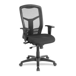 "Lorell - Lorell High-Back Executive Chair - Plastic Black Seat - Steel Frame - High-Back Mesh Chair offers a mesh back and seat with plastic-coated steel frame. Ergonomically designed back accommodates the natural curvature of person's back. Arms with polyurethane arm pads adjust in height and width. Functions include pneumatic seat-height adjustment from 18"" to 21-1/2"", seat-glide mechanism, 360-degree swivel, tilt tension and synchronized knee tilt. High-back chair meets the CA117 fire-retardant standard."