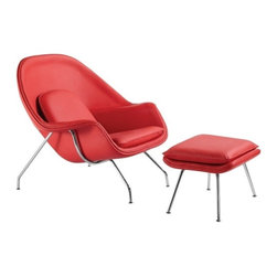 Fine Mod Imports - Fine Mod Imports Woom Chair and Ottoman in Red Leather - This wonderful chair features a molded fiber glass frame in fire retardant polyurethane foam padding in and covered with leather.