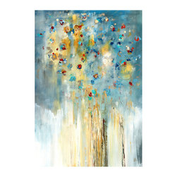 Klimt Tree Unframed Giclee with Image Gel Finish - Clouds of turquoise and pops of red accented with strong hints of warm gold make Klimt Tree a warm, striking take on a classic arboreal subject.  Stylized and abstracted but still recognizably depicting a scene from nature, this flowering tree print awakens your d�cor, creating mingled connotations of excitement and peace on your wall.  Pair with a crisp, vivid wall color for a glorious effect.