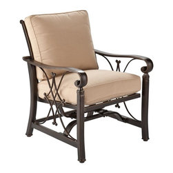 Southern Enterprises - Jager Outdoor Stationary Spring Rocker Chairs - Embrace the serenity of the outdoors with this elegant set of four stationary spring rocker chairs. It's the perfect spot for relaxed outdoor living. Stationary spring rocker chairs offer the comfort of a rocker with the sleek style of a stationary chair! The unique Dia mond and X cast design of the frame offers elegant style, while the black gold distressed hand finish adds stunning beauty. Comfortable seat and back cushions are covered in tan solution-dyed acrylic fabric, making it perfect for outdoor use; it is antimicrobial as well as fade and stain resistant. The fire pit shown is not included; set includes four chairs only. with an elegant finish and comfortable cushions, this set is an eye-catching and enjoyable addition to the backyard or patio. The simple scrolled frame offers versatile style for traditional or contemporary tastes.
