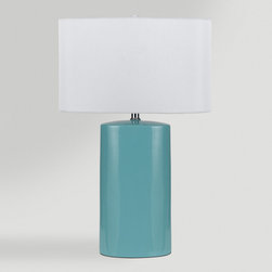 World Market - Aqua Ceramic Table Lamps, Set of 2 - Our Aqua Ceramic Table Lamps are perfect home accents for side tables, nightstands or desks. Each lamp features a ceramic neck in an aqua finish, off-white linen shade and a convenient 3-way switch.