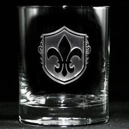 Crystal Imagery, Inc. - Fleur De Lis Rocks Glasses, Whiskey, Scotch, Bourbon Set of 4 - Fleur De Lis Whiskey Scotch Glass, Engraved Fleur-de-Lis Bar Glasses