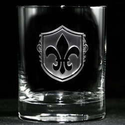 Crystal Imagery, Inc. - Fleur De Lis Rocks Glasses, Whiskey, Scotch, Bourbon Set of 4 - Fleur De Lis Whiskey Scotch Glass, Engraved Fleur-de-Lis Bar Glasses