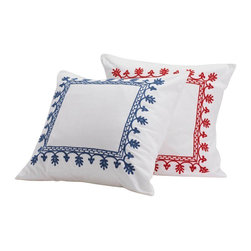 Coyuchi - Aari Embroidered Sham, White W/Carmine, Euro - Intricate hand-guided embroidery brings lavish color and texture to pure white cotton. The standard sham is banded at one end, while the Euro sham is framed with stitching. Both have envelope closures.