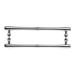 "Top Knobs - Nouveau Bamboo Back to Back Door Pull - Polished Chrome - Length - 19 31/32"", Width - 29/32"", Projection - 2 1/8"", Center to Center - 18"", Base Diameter - 13/16"""