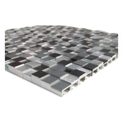 "Sample Industrial 3d Graphite Peak Tile - sample-Industrial 3D Graphite Peak TILES SAMPLE You are purchasing a 1/4 sheet sample measuring approximately 6"" x 6"". Samples are intended for color comparison purposes, not installation purposes. -Glass Tiles -"