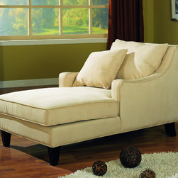 Coaster - Beige Accent Seating Microfiber Chaise Lounge - Relax in style in this ultra comfortable microfiber chaise lounger accented withcappuccino finished wood legs with accent pillows included.
