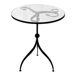Caporali - Oppio Side Table by Caporali - Tuscany, Italy - Hand forged in the Caporali workshop (Santa Mama, Tuscany, Italy), this classically designed wrought iron side table with a round glass top demonstrates the true workmanship of these Tuscan artisans. Since 1885, the Caporali family has been forging iron in Tuscany using the same methods passed down through four generations. Each piece is a work of art yet perfectly functional anywhere in your bedroom as a bedside table, living room next to an arm chair or sofa, or as an accent piece. The removable glass top allows for easy cleaning.