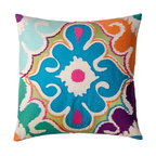 "KOKO - Totem Pillow, Blue/Mauve/Green, 20"" x 20"" - How bright you are! This pretty pillow relies on embroidery and appliqué for its exotic, textural design. Throw it wherever you want to wake things up."