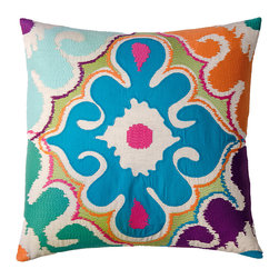 "KOKO - Totem Pillow, Blue/Mouve/Green, 20"" x 20"" - How bright you are! This pretty pillow relies on embroidery and appliqué for its exotic, textural design. Throw it wherever you want to wake things up."
