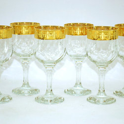 Threestar - Threestar 14k Gold Rim Fleur De Lis Pattern Italian Wine Glasses (Set of 6) - Celebrate in style with this set of six gorgeous Italian Wine Glasses. With 14 carat gold rims patterned with a classic fleur-de-lis design,these glasses bring elegance to any dinner. They also make a great bridal shower or wedding present.