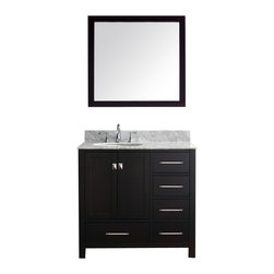 """Virtu USA - 36 Inch Transitional Single Sink Bathroom Vanity - The Caroline Avenue series is designed with a bold clean style and built with strong, top notch materials including designer brushed nickel hardware. It offers an abundance of storage space and state of the art technology with its soft closing doors and drawers. Featuring a zero-emissions solid oak wood with a classic espresso finish that will last for years to come. With this vanity's 1 inch thick Italian Carrera  White Marble countertop, it will be more durable and resistant to mishaps. Virtu USA has taken the initiative by changing the vanity industry  and adding soft closing doors and drawers to their  entire product line. By doing so, it will give their customers benefits ranging from safety, health, and the vanity's reliability. Dimensions: 36.8""""W X 21.9""""D X 36""""H (Tolerance: +/- 1/4""""); Counter Top: White Italian Carrara Marble; Finish: Espresso - (Very Dark Brown - Can Appear Black in Certain Lighting); Features: 2 Doors, 5 Drawers; Soft Close Hinges; Hardware: Brushed Nickel; Sink(s): 18.4"""" X 15"""" X 7.7"""" Undermount White Ceramic Sink; Faucet: Pre-Drilled for Standard Three Hole 8"""" Center (Not Included); Assembly: Light Assembly Required; Large Cut Out in Back for Plumbing; Included: Cabinet, Sink, Mirror (31.5""""W X 31.5""""H); Not Included: Faucet, Backsplash"""