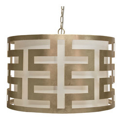Worlds Away - Worlds Away Hicks Silver Leafed Greek Key Pendant - Dig the Greek key motif on this hip and happening silver-leafed pendant lamp. A midcentury modern tour de force, the merry-go-round flavor of the circular shade adds a whimsical quality to this sophisticated lighting source. Hang one in your home and bask in its beauty.