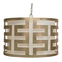 Worlds Away - Worlds Away Hicks Silver-Leafed Greek Key Pendant - Dig the Greek key motif on this hip and happening silver-leafed pendant lamp. A midcentury modern tour de force, the merry-go-round flavor of the circular shade adds a whimsical quality to this sophisticated lighting source. Hang one in your home and bask in its beauty.