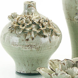 Frontgate - Small Gray Jug with Flowers - Artistically styled ceramic jug. Flowers are hand applied. Mushroom-shaded glaze. Fill with real or faux blooms. Clean with a dusting cloth. Crafted from ceramic with hand-applied blooms, the Short Flower Jug creates a romantic gesture on its own or filled with flowers. A sublime mushroom glaze enhances the stylistic vessel.. . . . .