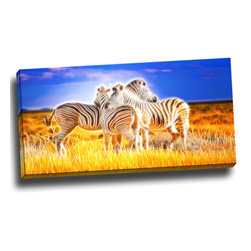 Zebra Duo on Canvas, 32W x 16H, 1 Panel - This animal artwork is a gallery wrapped canvas piece. This design is printed in high quality fade resistant ink on premium quality cotton canvas.