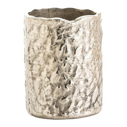Arteriors - Ivo Vase - A tribute to nature with a touch of shine, this aluminum cachepot makes a lovely accent in your favorite setting. Its appealing tree-trunk texture is the perfect complement to flowers or plants.