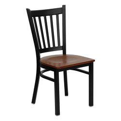Flash Furniture - Flash Furniture Hercules Series Black Vertical Back Metal Restaurant Chair - Provide your customers with the ultimate dining experience by offering great food, service and attractive furnishings. This heavy duty commercial metal chair is ideal for restaurants, hotels, bars, lounges, and in the home. Whether you are setting up a new facility or in need of a upgrade this attractive chair will complement any environment. This metal chair is lightweight and will make it easy to move around. This easy to clean chair will complement any environment to fill the void in your decor. [XU-DG-6Q2B-VRT-CHYW-GG]