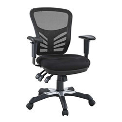 Modway - Articulate Office Chair in Black - Mark a turning point in your office tasks with this upright and ergonomic mesh office chair. Let the breathable mesh back and plush fabric cushion seat serve as a simple extension to your everyday home and business ventures. The back height and seat depth are both easily adjustable to fit your height and size, while two sturdy armrests height adjust to assist your vertical seat posturing. Articulate also includes tilt tension and lock functions to recline and incline comfortably as needed. Fitted with five hooded dual-caster wheels, give yourself the ability to easily glide over carpeted floors while naturally performing tasks without exertion.