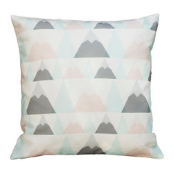 Plumed - Snowcaps Pillow Cover - Our Snowcaps pillow cover is a textile fabric designed by Plumed as a part of our Generations line which is designed to appeal to all ages as well as to go in any room in your home - from the kids room to the living room. It features mountains in light and muted tones of a brownish-pink, light blue and grey with white snowcaps. Our printed designed textiles are also designed to mix and match between our lines (photography/modern graphic/generations).