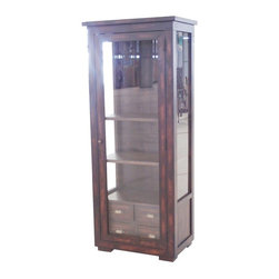 CDI International Furniture - Camrose Curio Cabinet - Tobacco - AV1150TB - Shop for China from Hayneedle.com! A reclaimed beauty the Camrose Curio Cabinet - Tobacco is hand-crafted of solid recycled and reclaimed woods and finished in an eco-friendly tobacco. Three sizes of glass panels ensures visibility of your treasures within. Three levels and four drawers make display and storage a snap. Brass-finished bin pulls and knob hardware add antique charm.About CDI InternationalCDI International is based in Montreal Canada's fashion capital. They adore home furnishings that embody high fashion and are made of the finest materials. CDI International is one of the most reputable home furnishing suppliers in the market. They strive to provide customers with well-designed quality products at a fair price. CDI International prides itself on staying on the cutting edge of design trends. Their designers travel the world to see first-hand the materials and trends around the globe.Not just impeccably crafted and stylish home goods and furniture CDI International also strives to be environmentally responsible. They work to reduce their ecological footprint. Their goal is to offer designer sofas with a simple manufacturing process that is also eco-friendly. They encourage their factories and transportation services to maintain the highest standards of green environmental living.