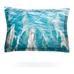 "Kess InHouse - Bree Madden ""Dolphins"" Pillow Sham (Cotton, 40"" x 20"") - Pairing your already chic duvet cover with playful pillow shams is the perfect way to tie your bedroom together. There are endless possibilities to feed your artistic palette with these imaginative pillow shams. It will looks so elegant you won't want ruin the masterpiece you have created when you go to bed. Not only are these pillow shams nice to look at they are also made from a high quality cotton blend. They are so soft that they will elevate your sleep up to level that is beyond Cloud 9. We always print our goods with the highest quality printing process in order to maintain the integrity of the art that you are adeptly displaying. This means that you won't have to worry about your art fading or your sham loosing it's freshness."
