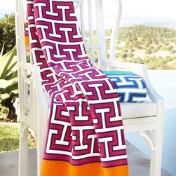 """Jonathan Adler - Mykonos Beach Towel - BLUE/GREEN - Jonathan AdlerMykonos Beach TowelDetailsBeach towel made of highly absorbent heavyweight cotton terry.Machine wash.40"""" x 70"""".Made in Portugal.Designer About Jonathan Adler:Potter designer and author Jonathan Adler launched his first ceramics collection in 1994. His design philosophy: create a foundation of timelessly chic furniture and accessorize with abandon. With his roots still firmly in pottery he has expanded to become a complete lifestyle brand offering furniture lighting decorative objects fashion accessories and more. He is dedicated to bringing style craft and joy to life."""