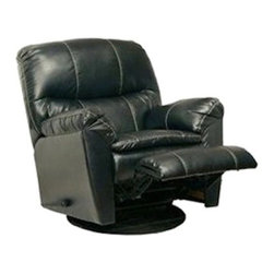 Catnapper - Catnapper Cosmo Bonded Leather Swivel Glider Recliner Chair in Black - Catnapper - Recliners - 44155120308300308 - The Cosmo Swivel Glider Recliner by Catnapper offers Valentino bonded leather touch upholstery with decorative stitch and it is available in black and red. This great recliner features comfort pillow pad seat padded arm rest as well as smooth and easy glider function with full 360 degrees swivel. Elegant upholstery rich color and amazing design make this swivel glider recliner perfect for almost any decor!
