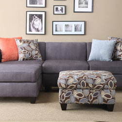 Modern Small Charcoal Microfiber Sectional Sofa Set Reversible Chaise - Simplistic and modern crafted living room furnishings covered in smooth microfiber, this 2-piece sectional features a reversible chaise and solid wood legs in a deep brown. This lovely piece also includes double-sided accents pillows with a floral and a solid colored side.