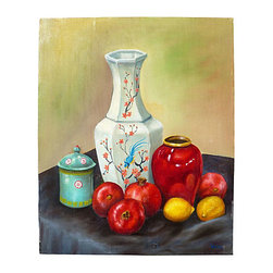"""Chinoiserie Still Life, Original, Signed - Beautiful still life of a Chinoiserie vignette. Fantastic colors would work with any type of decor from Traditional to Eclectic. Signed """"Wade"""" in the bottom right corner. Unframed canvas."""