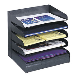 Safco - Safco Black Five Tiers Steel Desk Tray - Safco - Desktop Organizers - 3127BL - This five tier steel desk tray sorter will help store and organize open projects file folders and paper supplies at your fingertips. All steel construction has a contemporary finish that resists fingerprints. Slanted shelves with finger notch-outs provide convenient access to contents. Available in 3- 4- 5-. 6- and 8-tier designs to accommodate letter size material. Rubber feet included to protect work surface.