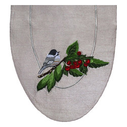 Golden Hill Studio - Cherries & Chickadees Table Art Runner - Chicka-dee-dee-dee! Add some delicate liveliness to your table with this classic table runner. The lovely chickadee that perches upon the cherry branch on this handcrafted runner will delight you, every time you go to set the table.