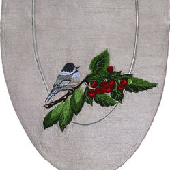 Cherries and Chickadees Table Art Runner - Chicka-dee-dee-dee! Add some delicate liveliness to your table with this classic table runner. The lovely chickadee that perches upon the cherry branch on this handcrafted runner will delight you, every time you go to set the table.
