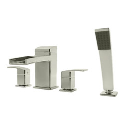 Price Pfister - Pfister RT6-4DFK Kenzo Roman Tub Faucet Trim With Spray - Price Pfister RT6-4DFK is a Kenzo Series 4-Hole roman tub Trim with handheld shower. Must Use with 0X6-440R Rough-in valve body.