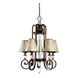 KICHLER - KICHLER 42169HB Hanna European Traditional Chandelier - The statuesque Hanna(TM) Collection by Kichler(R) demands attention with its slender design, classic Heritage Bronze Finish and highly polished K9 crystal center font. The gorgeous simple lines and ornate banding of this 5 light chandelier are perfectly complemented by stunning Mica Shades atop individual K9 crystals that beautifully reflect warm, inviting light.
