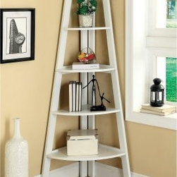 Merill 5-Tier Ladder Corner Shelf - White - A space-saving beauty, the Furniture of America Merill 5-Tier Ladder Corner Shelf - Cherry fits into any corner and displays in style. This ladder shelf is crafted of wood solids and veneers with a fresh and casual white finish. Its five shelves are graduated in size for visual drama.