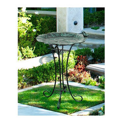 """Innova - Innova Lily Pad with Sitting Bird Garden Bird Bath - S873-51 - Shop for Garden Bird Baths from Hayneedle.com! Give your neighborhood birds the spa treatment with the Innova Lily Pad with Sitting Bird Garden Bird Bath. This beautiful cast aluminum bird bath is crafted to resemble a large lily pad with a verdigris finish adding great color and a sculpted bird resting on its rim. The durable powder-coated steel stand features gently scrolled legs that complete this beautiful piece. About Innova Hearth & Home Inc. Taking its name from the word """"innovate """" Innova Hearth & Home Inc. focuses on creating original products that fit both traditional and contemporary decorating themes. Innova draws its inspiration from the current movement in creating fashionable outdoor living spaces and therefore specializes in outdoor furniture park benches and garden decor. With a commitment to superior construction and unique design Innova delivers quality products to make your outdoor living room comfortable and beautiful."""