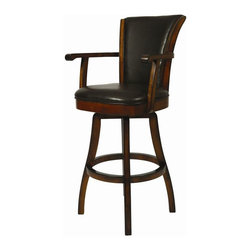 """Pastel Furniture - Pastel Furniture Glenwood 30 Inch Swivel Barstool in Russet Cordovan - The Glenwood Barstool with arms is a beautifully made barstool that has a simple yet elegant design that is perfect for any decor. An ideal way to add a classic flair to any dining or entertaining area in your home. This swivel barstool features a quality wood frame with sturdy legs and foot rest finished in Russet Cordovan. The padded seat is upholstered in Brown Leather offering comfort and style. Available in 26"""" counter or 30"""" bar height."""
