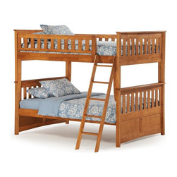 Night and Day - Ginger Medium Oak Full Over Full Bunk Bed - ND215 - Shop for Bunk Beds from Hayneedle.com! The Ginger Medium Oak Full Over Full Bunk Bed gives you all the real estate you need for a house full of sleepy children... or for a handful of adults! Built durably from solid wood this traditional bunk bed holds two full-sized mattresses and comes complete with everything you need from the guard rails to the slats and hardware. It couldn't be simpler to increase your home's sleepover potential. Finished in warm Medium Oak this bunk bed has a Mission-style look with panels and slatted rails. The matching ladder has finished edges and is durably built for peace of mind (just like the rest of the bed). If you need extra storage or even more sleeping space choose from the optional storage drawers or trundle bed both of which are meant to fit into the open space beneath the bottom bunk. The trundle is made from solid wood and has durable slats that support a full-size mattress. It rolls easily back under the bed when not in use. Or purchase a set of two rolling storage drawers and turn that open space into convenient clutter storage. The drawers have paneled fronts for style and durable casters for easy operation. This bunk bed comes with a limited 10-year manufacturer's warranty. Use only mattresses that are 74-75 inches long and 53-54 inches wide (full size). Mattress thickness should not exceed 6 inches. The optional trundle measures approximately 75.5L x 40.375W x 13.625H inches. The drawers each measure approximately 37.875L x 20.625W x 13.625H inches. Please note: CPSC recommends the tops of the guardrails must be no less than 5 inches above the top of the mattress and that top bunks not be used for children under 6 years of age. About Night and Day FurnitureOne of the fastest-growing futon sellers in America Night and Day Furniture offers a broad range of stylish and well-made futon and bedroom collections. Their goal is to provide you with furniture that i