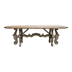Kathy Kuo Home - French Country Rustic Scroll Farmhouse Dining Table - One look at the ornate scroll carving on this rustic piece proves it's no ordinary farm table-its exquisite French detailing and antique whitewash bring a touch of added refinement to your country home. Still, this sturdy table provides the perfect space for a joyous crowd to gather around for an evening of food and wine, while you proudly hold court.