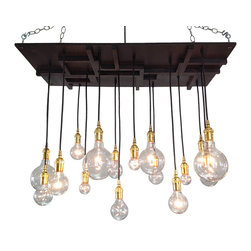 Industrial Lightworks - Mission Style Lighting - Mid-Century Modern Design, Oil Rubbed Bronze - One of a kind mid century chandelier. Inspired by a combination of industrial, mid-century, and arts and crafts design. The pattern will vary per chandelier.