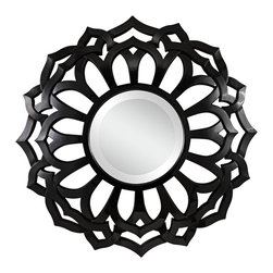 "Cooper Classics - Cooper Classics Covington 32"" High Wall Mirror - A mesmerizing, stylized floral wall mirror in glossy black finish. Add style to your home with the fabulous Covington mirror by Cooper Classics. Intricate frame in glossy black finish features an openwork floral design. Round beveled mirror glass lends a distinguished touch."