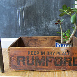 Rumford Wooden Crate - I love the idea of potted plants inside vintage wooden crates — or repurposing these wood crates as window boxes. Whether it's inside or out, a crate like this would make a cool display for plants.