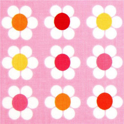 pale pink Robert Kaufman fabric with white flowers - pretty fabric with many white daisies from the USA by Ann Kelle