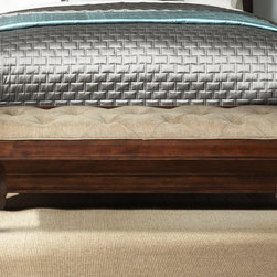 None - Liberty Autumn Brown RTA Bed Bench - This bed bench with an upholstered lift top offers a pretty perch and stylish storage for spare linens and other items. Enjoy the elegant and meticulous design of this cherry-finished wood bench topped with tufted chenille in neutral flax.