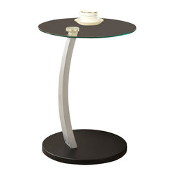 Monarch Specialties - Monarch Specialties 3009 Round Glass Accent Table in Black and Silver - What a convenient way to eat or drink on your couch! This beautiful black and silver bentwood accent table is has sufficient space for you to place your snacks, drinks and even meals. Its original curved metal base and tempered glass top provides sturdy support along with a undeniable look that will suit any decor.