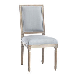Chateau Dining Chair - French Blue - Here's the more square brother to our Louis XVI Chair (though we'd hardly call it boring!) Simpler, less ornate designs like this characterize Louis XVI furniture–a return to the classic designs of the ancient Romans. This chair embodies those qualities: simplicity in high-quality linen upholstery, charm in a weathered oak finish, and elegant chair legs that imitate Roman columns. Choose one (or more!) of five custom colors to mix and match.