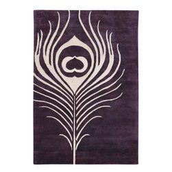 Thomas Paul Feather Plum-Cream Rug - 3' x 5' - Thomas' concept is simple The design concept is to mix unrelated historic design styles - art nouveau, 60's pop art, 70's minimalism, 18th Centurn Baroque - and reinterpret these disparate periods into a unique style with coordinated color palette that works with today's interiors. Price points are accessible to attract a stylish and design driven youth.