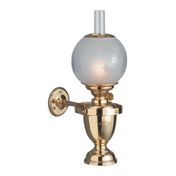 """Weems & Plath Danish Classic Yacht Oil Lamp w/ Ship Globe - Features four-way gimbal and a 5"""" handmade acid-frosted globe (135 mm) that is securely fastened with a clip-on spring in stainless steel. Hand polished and lacquered brass. 0.24"""" (6mm) circular burner, Height: 14.17"""" (360 mm), Oil Container Capacity: 11 oz, Burn Time: +/- 23 hours with clean burning lamp fuel. It weighs 5 lbs. 5 oz."""